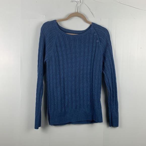 Sonoma Blue Knitted Sweater with Side Buttons